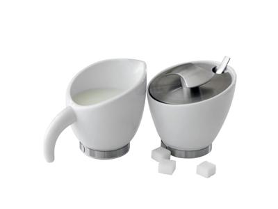 Sukker & Fløde sæt hvid por. med RF kant