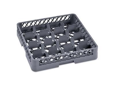 Opvaskebakke til glas/kopper 16 rum grå