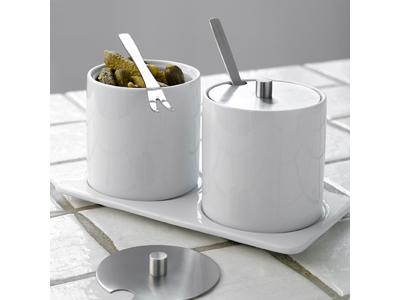 Skålsæt 2 skåle med låg på bakke porcelæ