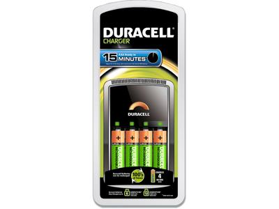 Batterioplader, 4 stk AA eller AAA, 2 stk AA og 2 stk AAA, 15 minutter, Duracell