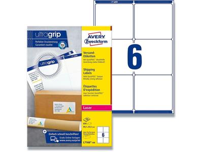Etiketter, 99.1x93.1 mm, Hvid, 600 etiketter i alt, Avery QuickPEEL