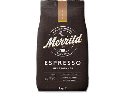 Kaffe, Hele bønner, Espresso, 1000 g, Merrild