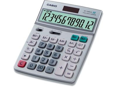 Regnemaskine, Standard, 12 cifre, Lysegrå, Casio DF-120ECO