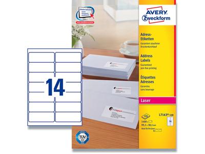 Etiketter, 99.1x38.1 mm, Hvid, 1400 etiketter i alt, Avery QuickPEEL