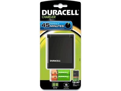Batterioplader, 4 AA eller AAA, 2 stk AA og 2 stk AAA, 45 minutter, Duracell CEF27