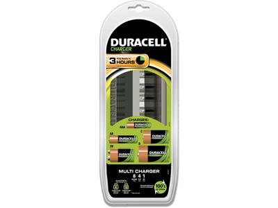 Batterioplader, Op til 8 AA,AAA  4 C,D eller 1 stk 9V, 3 timer, Duracell CEF22