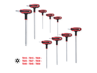 T-greb-nøgle-sæt, Torx med boring, 9 dele, TB10-TB50