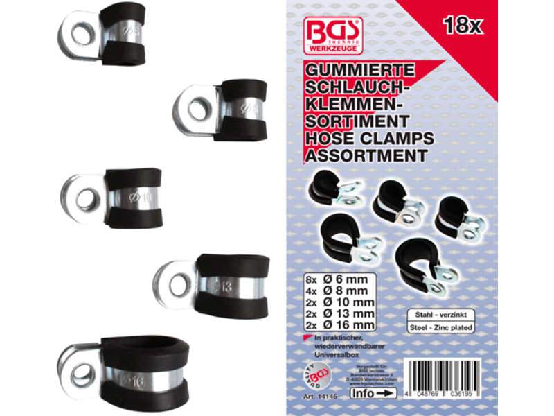 18 PCS. HOSE CLAMPS ASS. GUMMED