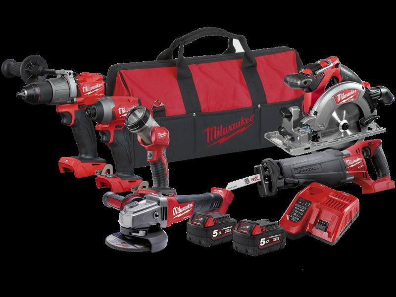 Milwaukee Powerpack 6 maskiner + 2 batterier M18 FPP6C2-502B