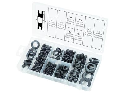 Sortiment af gummi-gennemgangstyller, 110 dele