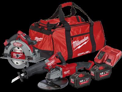 Milwaukee Powerpack 3 maskiner + 2 batterier M18 FHPP3A-122B