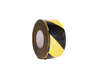 Afspærringsbånd sort/gul i box 70mmx500m