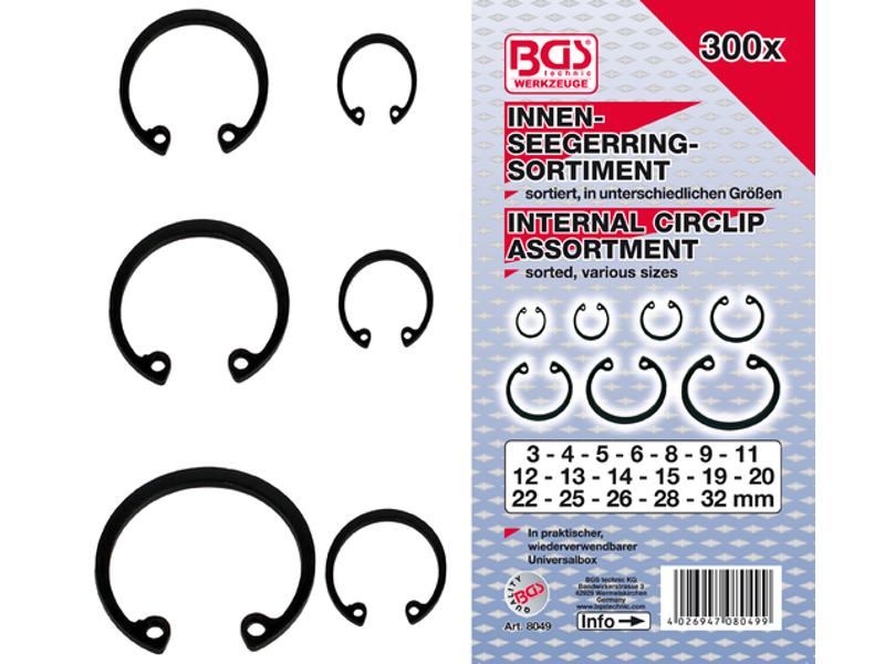 Indvendigt cirklipssortiment (snapringe) | Ø 3 - 32 mm