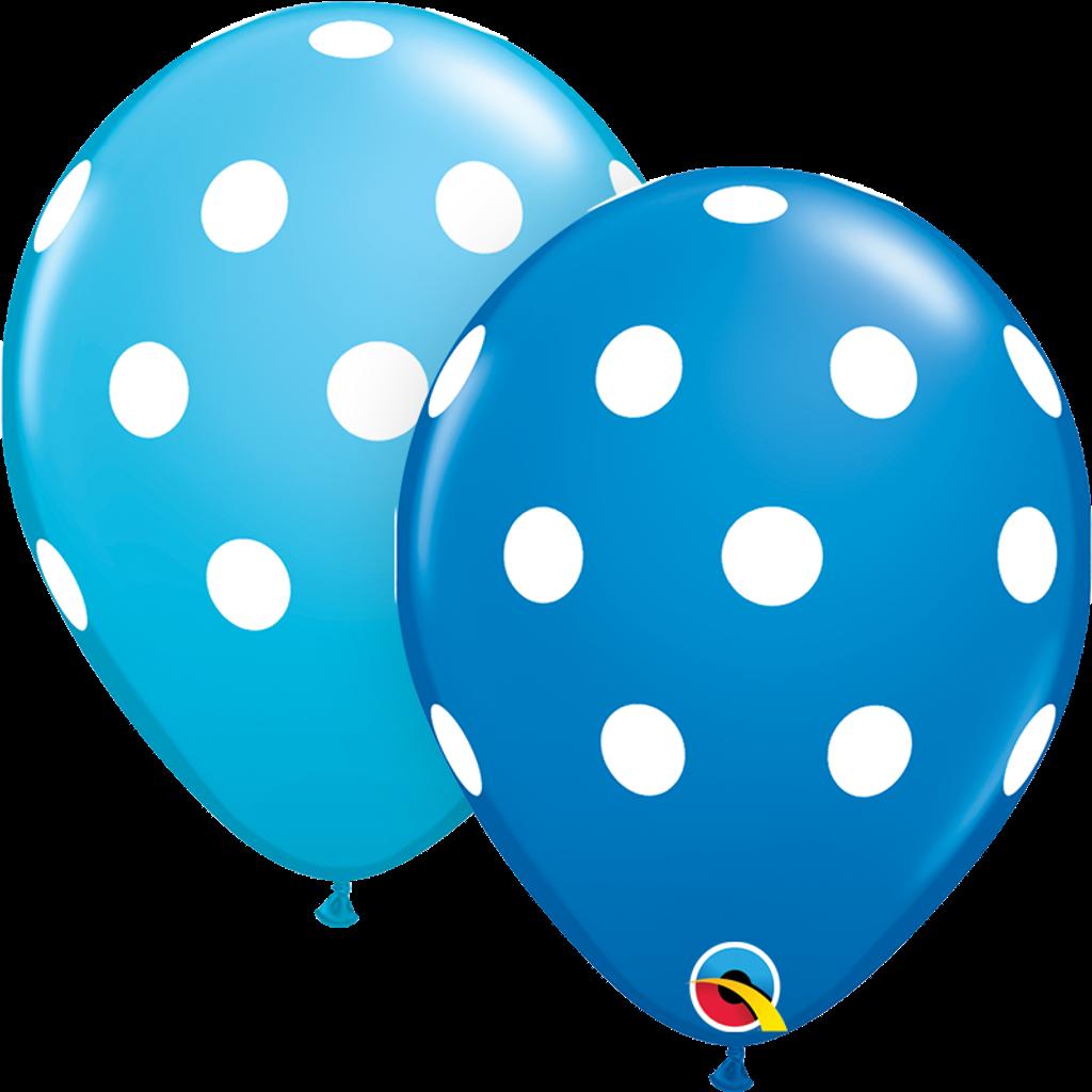BIG POLKA DOTS BLUE BALLOONS (25 pcs.)
