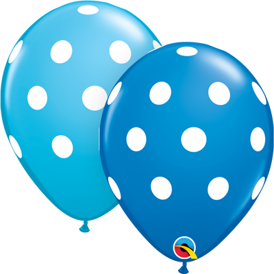 BIG POLKA DOTS BLUE BALLOONS (25 pcs.)