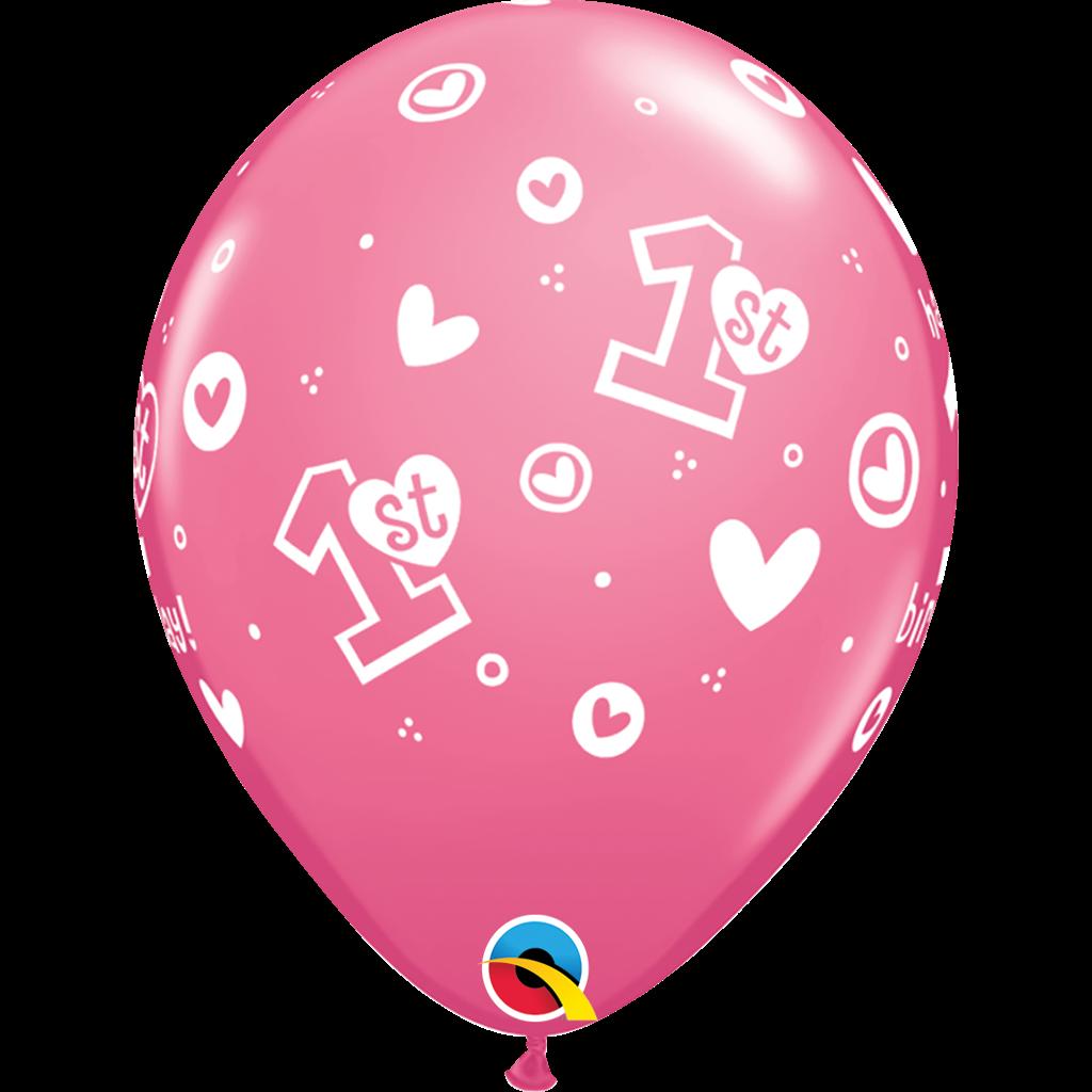 ROSE 1ST BIRTHDAY HEARTS BALLOON (25 pcs.)