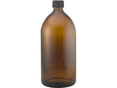 Brun glasflaske 1 l  sort låg