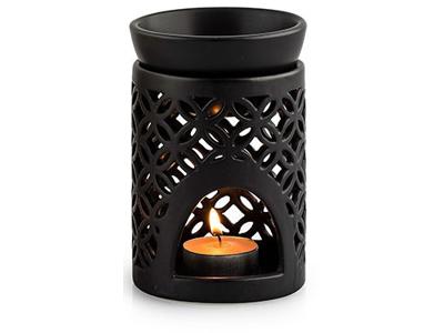 Duftlampe sort hulmønster