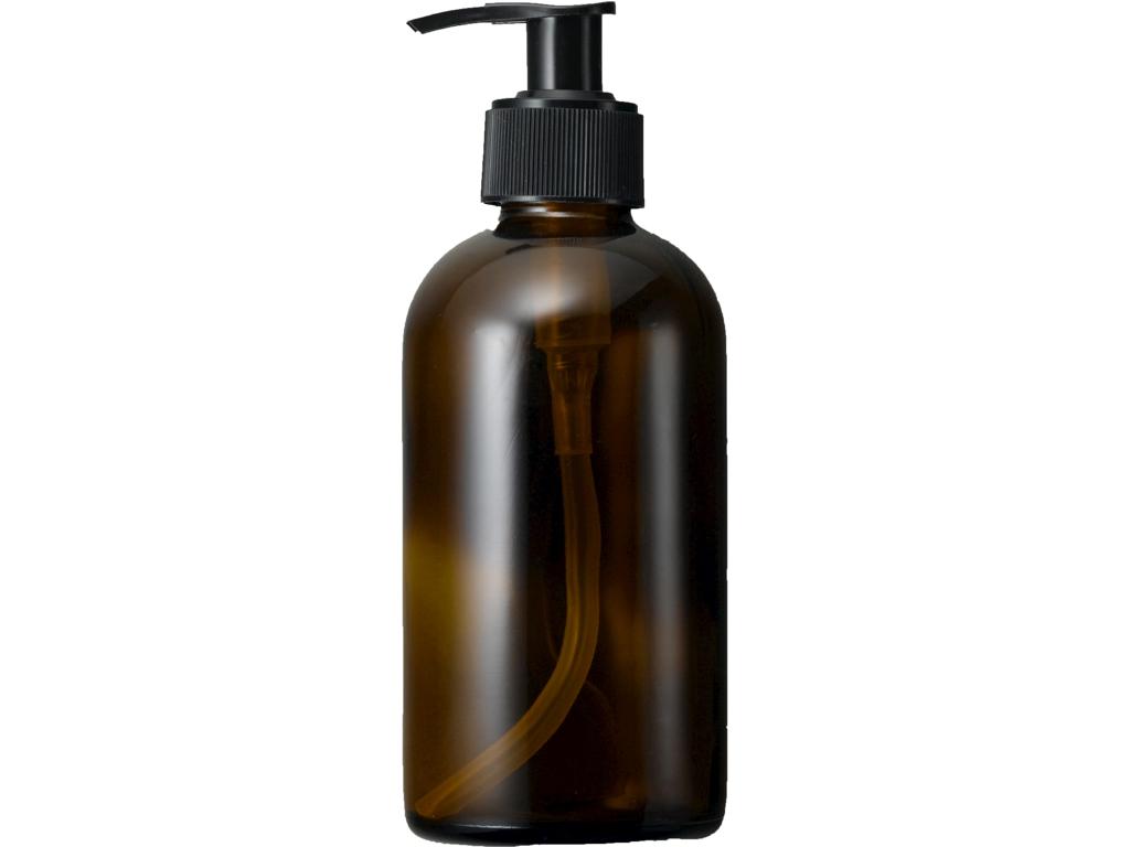 Brun glasflaske 250 ml med pumpe