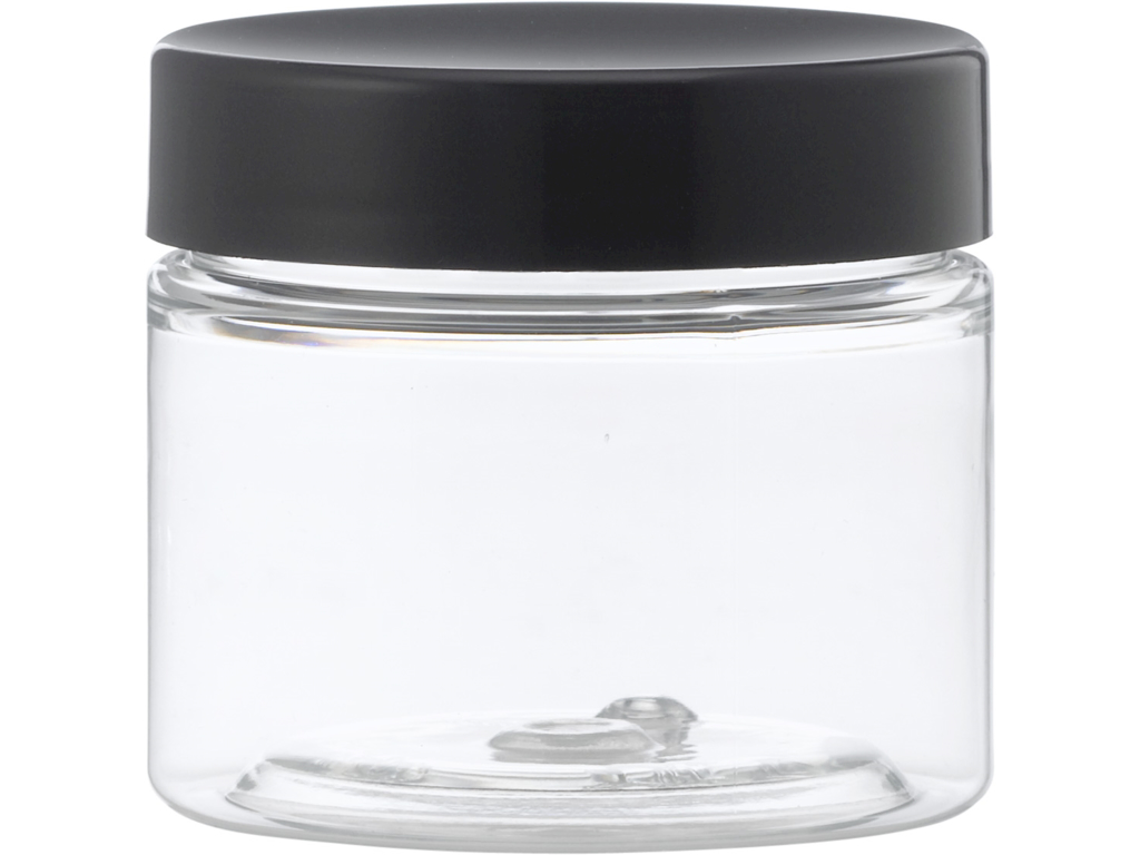 Klar plastkrukke 50 ml sort låg