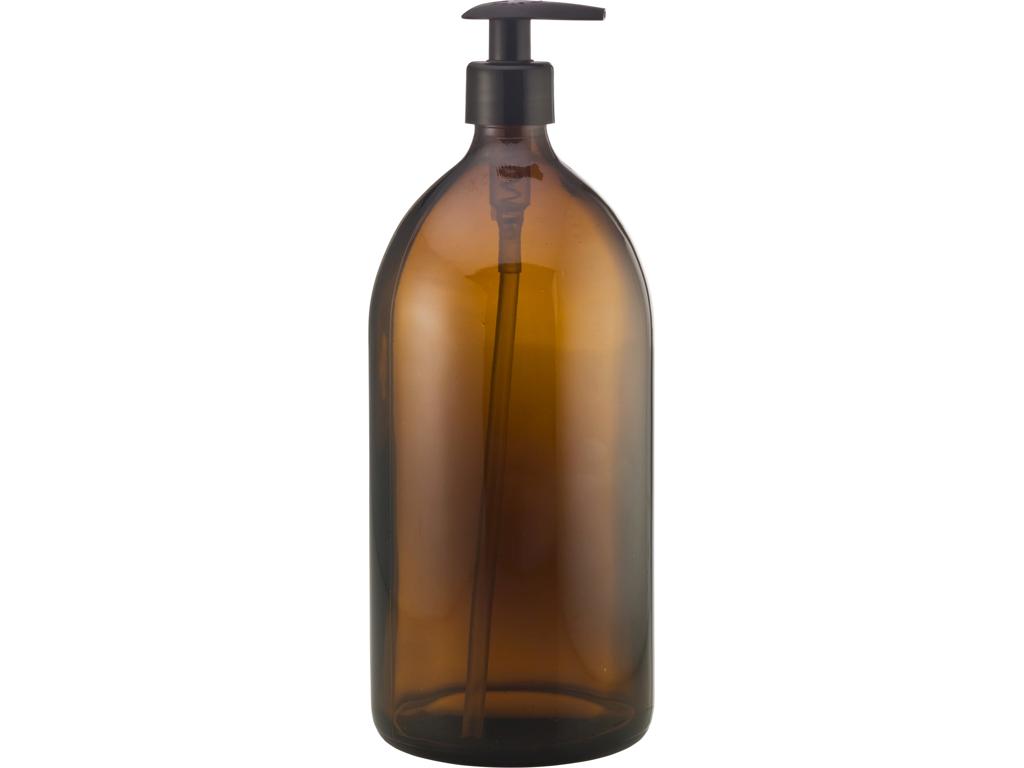 Brun glasflaske 1 l pumpe
