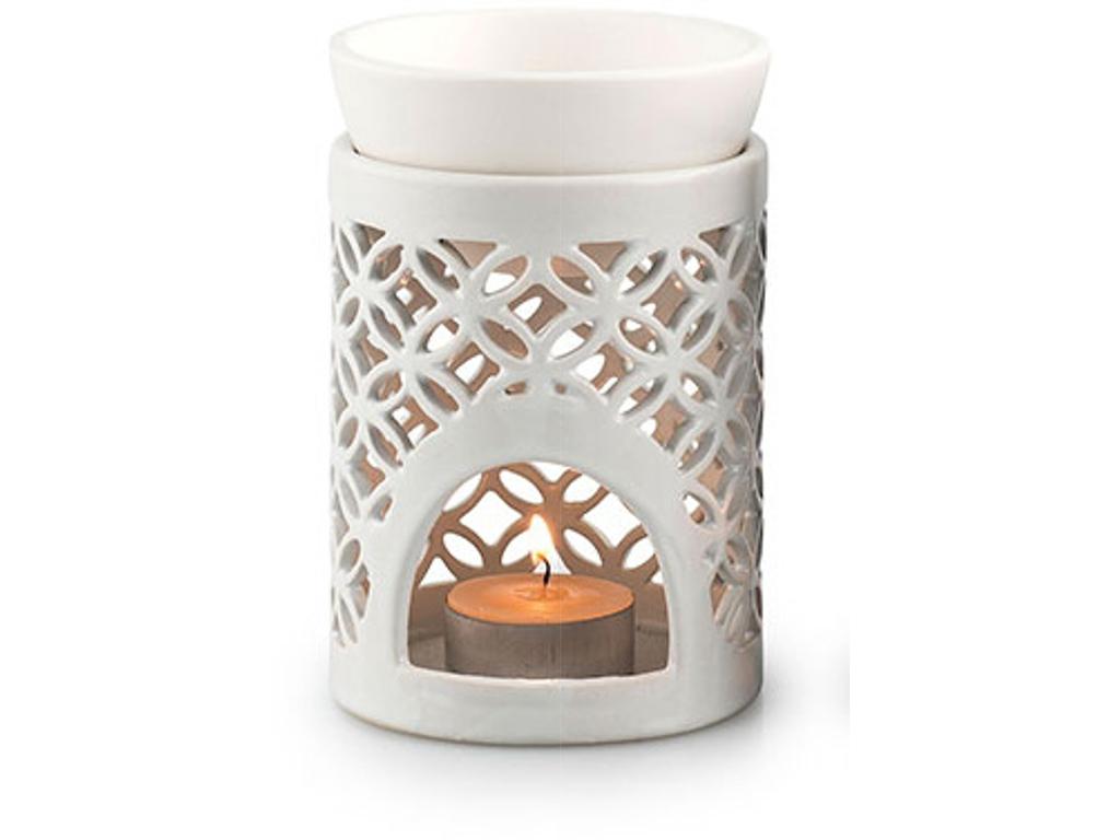 Duftlampe hvid hulmønster