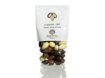 Drageret mandler m/chokolademix 100 gr