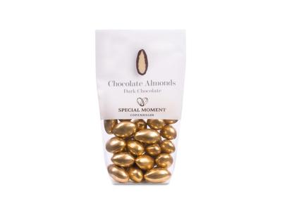 Drageret mandler m/ mørk chokolade guldfarvede 120 gr