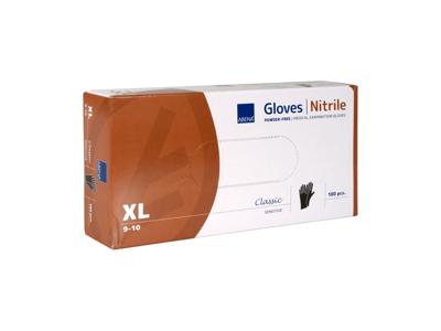 Handsker Nitril SORT Pudderfri XL á 180 stk