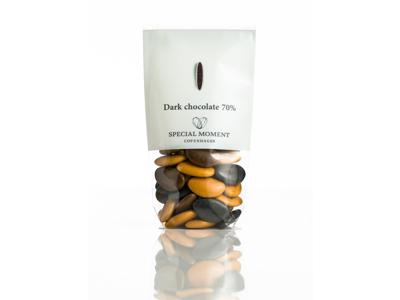 Drageret mørk chokolade 70% brunmix 130 gr