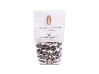 Drageret mandler m/ lys chokolade sølvfarvede 120 gr