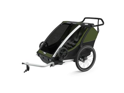 Thule Chariot Cab 2 - Multisportstrailer til 1-2 børn - Aluminum/Cypress Green
