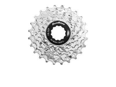 Sunrace CSR63 - Kassette 7 gear - 12-24 tands - Road - Til Shimano eller Sram - Nickel