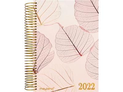 Spiralkalender, 1-dag, tekstilpræg, lyserød, FSC Mix