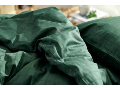 Södahl Sengetøj damaskvævet i forest green i 100% bomuld, Cl