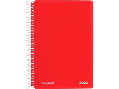 Spiralkalender, 1-dag, hård PP-plast, rød, FSC Mix