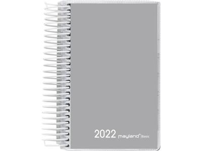 Basic minispiralkalender, 1-dag, PP-plast, grå, FSC Mix