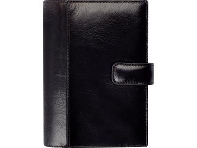 System Mini ugekalender, tværformat, mappe i skind, sort