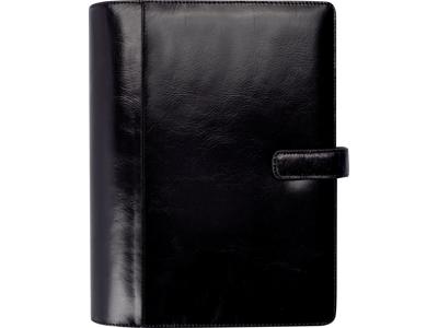 System A5 ugekalender, højformat, mappe i skind, sort