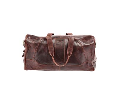 Corium Weekendtaske 52x25x25 cm i brun læder med et flot vin