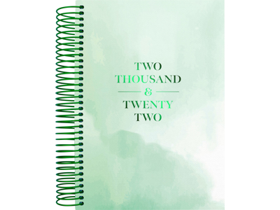 Spiralkalender, 1-dag, tekstilpræg, grøn, FSC Mix