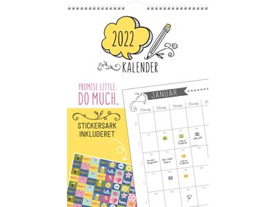 Familiekalender med stickers, Doodle, FSC Mix