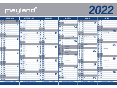 Kæmpekalender, 2x6 mdr., papir, FSC Mix