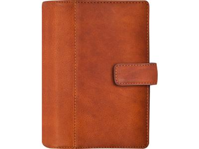 System Mini ugekalender, tværformat, mappe i skind, brun