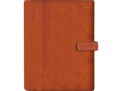 System A5 ugekalender, højformat, mappe i skind, brun