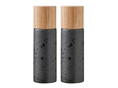 Bitz Salt & Peber sæt 16,7cm i mat sort stentøj