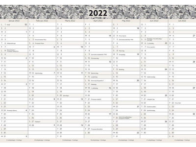 Kæmpekalender, 2x7 mdr., papir, rør, FSC Mix