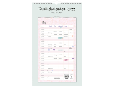 Familiekalender Pastel med stickers, FSC Mix