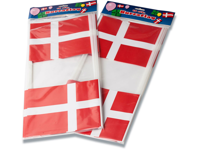 Hurra flag, papir på pind, 14,5x19cm, 10stk/pak