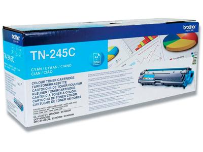 Toner, TN245C, Cyan-blå, 2.200 sider, Brother